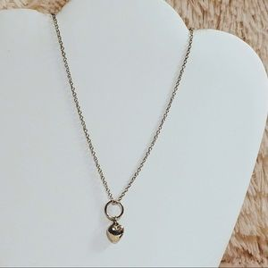 Vintage Silvertone Heart Charm Necklace